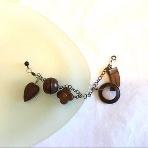 Scandinavian Sterling Silver Wood Charm Bracelet